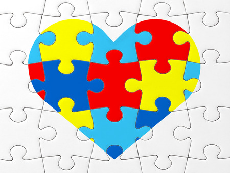 33474819 - autism awareness symbol: puzzle with heart