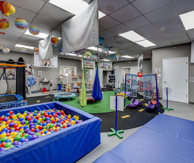 Indiana ABA Therapy room with ball pit and swing